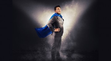 super hero business man in charge success
