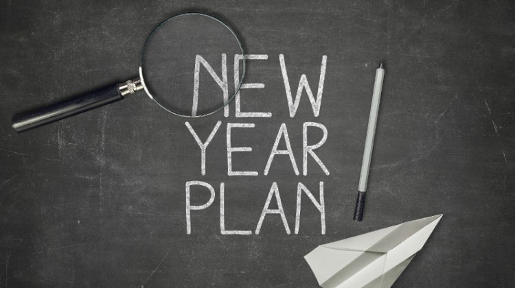 new year plan success look examine improve magnifying glass