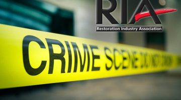 The July 2018 RIA Forensics Restoration Conference in Cincinnati will offer educational content and networking in this niche restoration sector crime scene tape focus on word 'crime' in cenematic dark tone with copy space